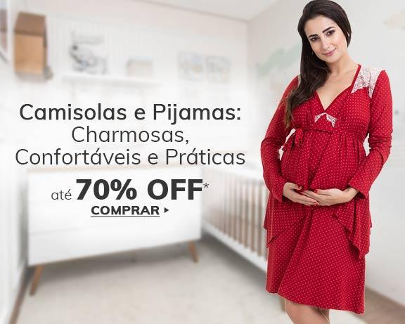 Pijamas e camisolas com até 70% OFF